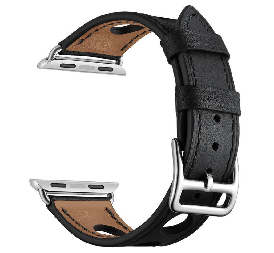 42mm Apple Watch zwart lederen enkele tour hermes bandje