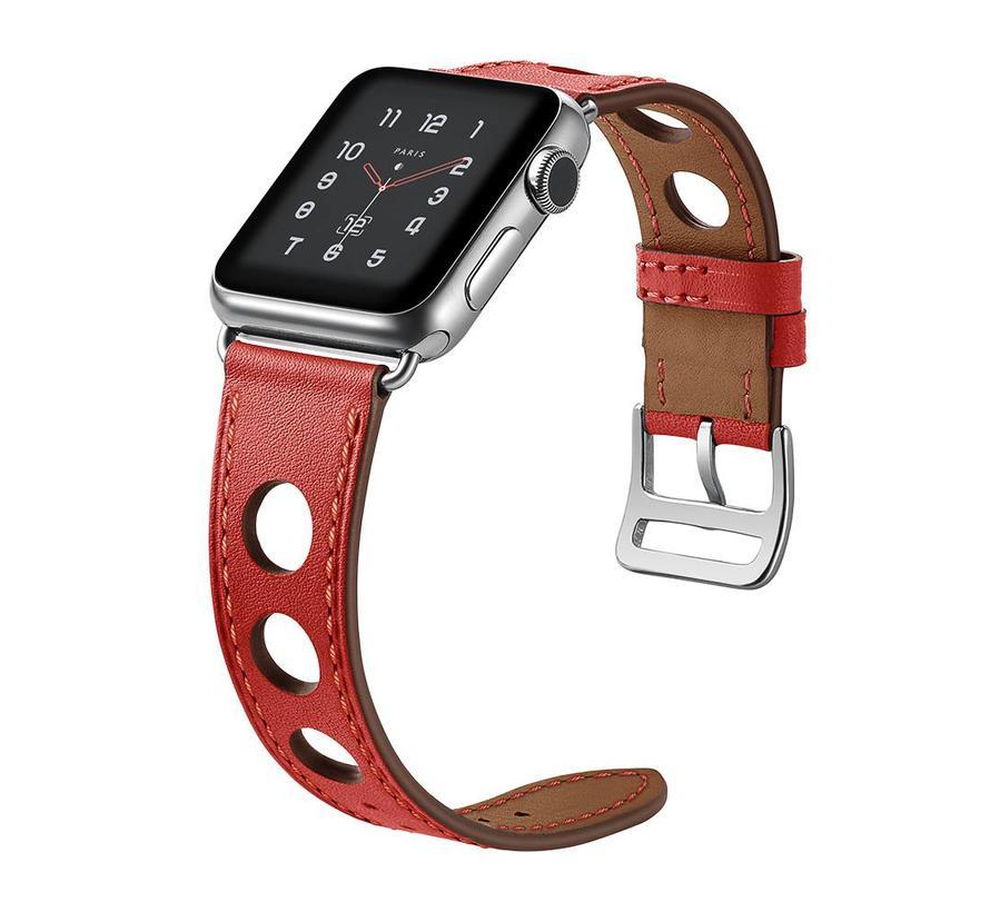 42mm Apple Watch rood lederen enkele tour hermes bandje