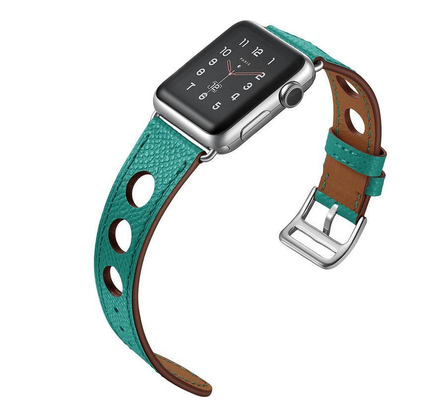 42mm Apple Watch groen lederen enkele tour hermes bandje