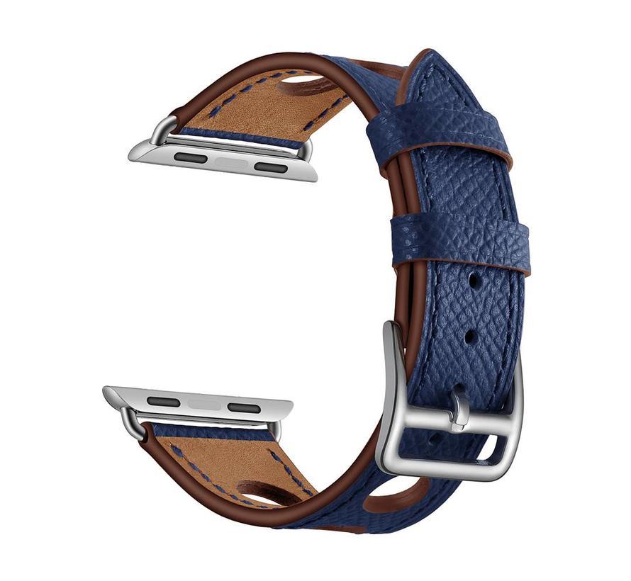 42mm Apple Watch donker blauw lederen enkele tour hermes bandje