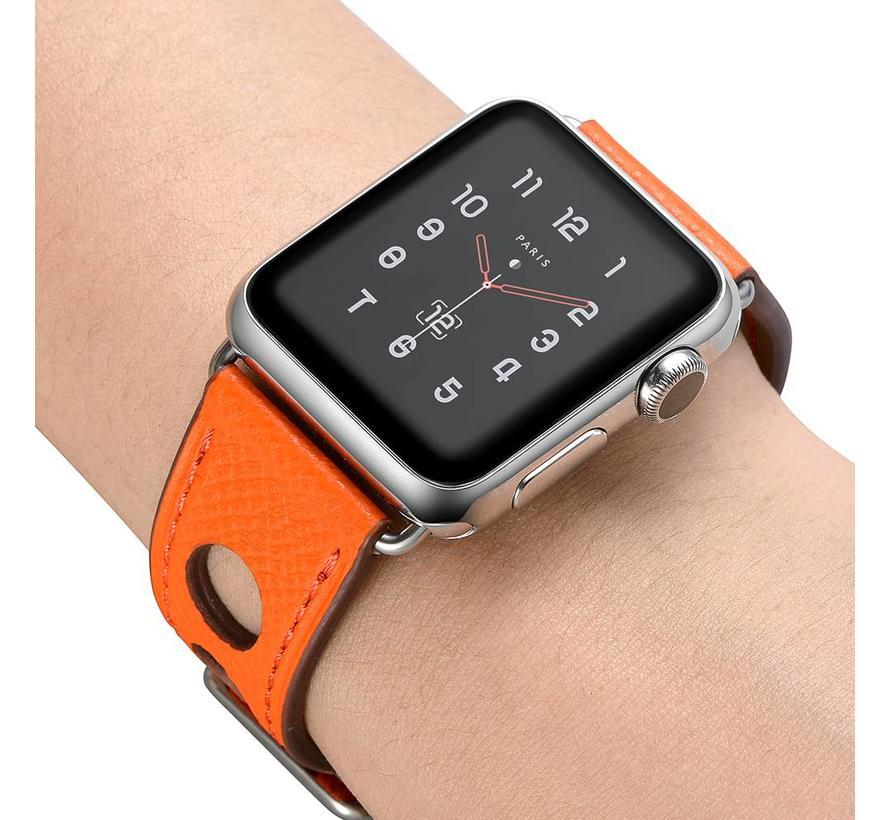 42mm Apple Watch oranje lederen enkele tour hermes bandje