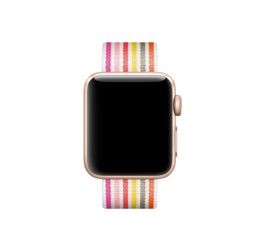 42mm Apple Watch roze geel grijs gestreept geweven nylon gesp bandje
