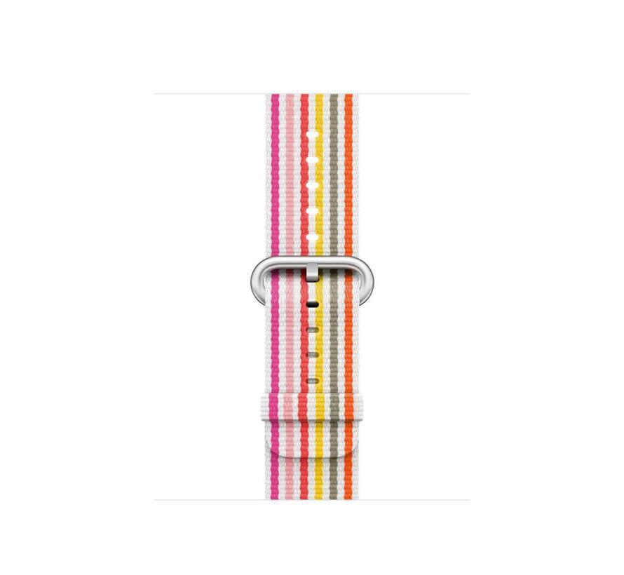 42mm roze geel grijs gestreept geweven nylon gesp bandje
