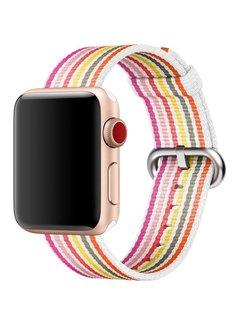 123Watches.nl 42mm Apple Watch roze geel grijs gestreept geweven nylon gesp bandje