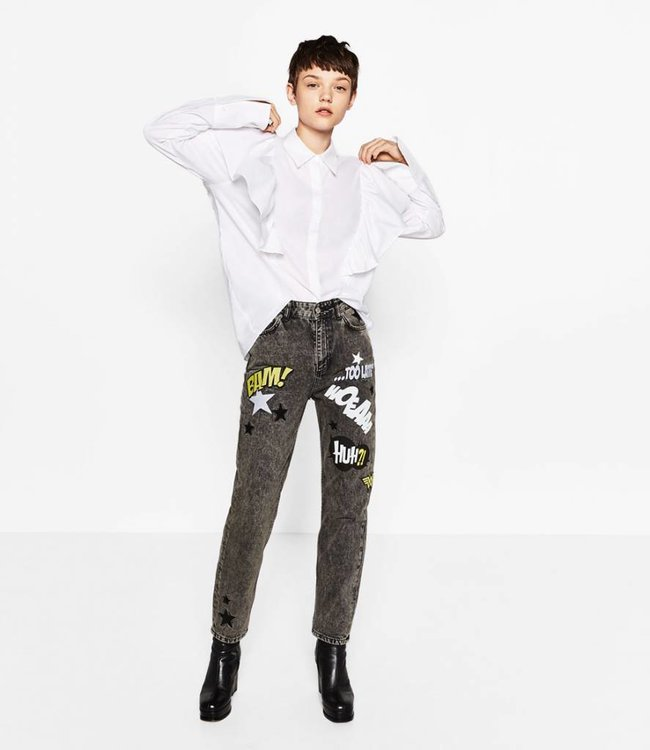 Jeans with text