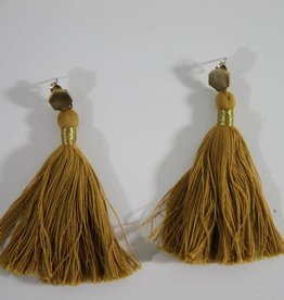 Earrings Tassel Ochre Yellow