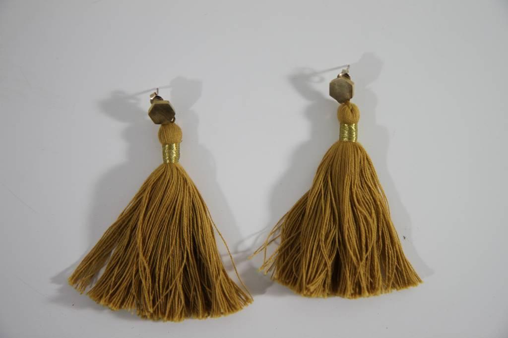Earrings Tassel Ochre Yellow