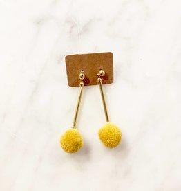 Earrings Pompom Ochre
