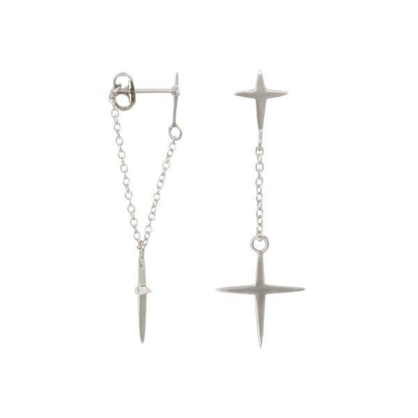 Eline Rosina Earrings Double Cross - Silver