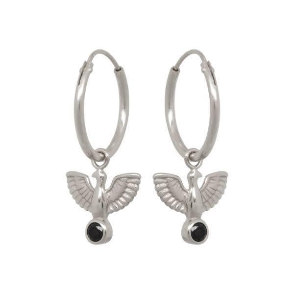 Eline Rosina Earrings Eagle Hoops - Silver