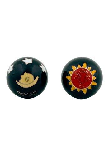 Yogi & Yogini naturals Meridiaankogels Zon & Maan rood geel op zwart (3,5 cm)