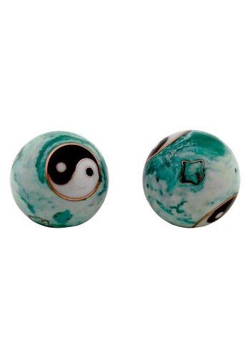 Yogi & Yogini naturals Meridiaankogels Yin Yang wit/groen (3,5 cm)