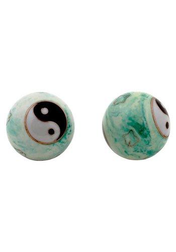 Yogi & Yogini naturals Meridiaankogels Yin Yang wit/groen gemarmerd (4 cm)