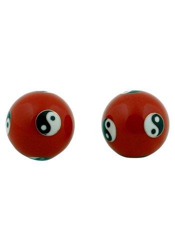 Yogi & Yogini naturals Meridiaankogels Yin Yang rood (4 cm)
