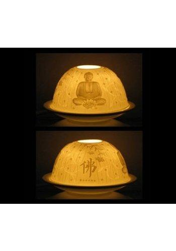 Yogi & Yogini naturals Sfeerlicht porselein Boeddha (11.5x7.8 cm)