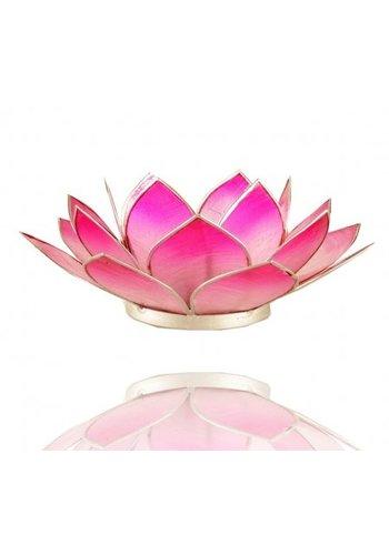 Yogi & Yogini naturals Lotus sfeerlicht roze zilverrand (Ø 13.5 cm)