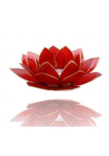 Yogi & Yogini naturals Lotus sfeerlicht rood 1e chakra goudrand (Ø 13.5 cm)