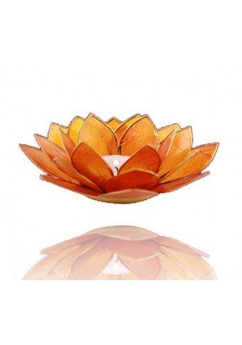 Yogi & Yogini naturals Lotus sfeerlicht oranje 2e chakra goudrand (Ø 13.5 cm)