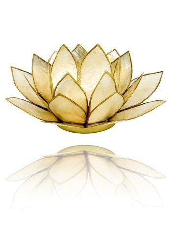 Yogi & Yogini naturals Lotus sfeerlicht smoked goudrand (Ø 13.5 cm)