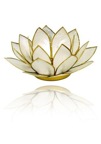 Yogi & Yogini naturals Lotus sfeerlicht parelmoer goudrand (Ø 13.5 cm)