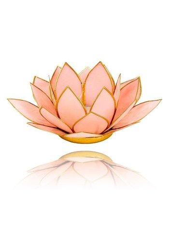 Yogi & Yogini naturals Lotus sfeerlicht pastel roze goudrand (Ø 13.5 cm)