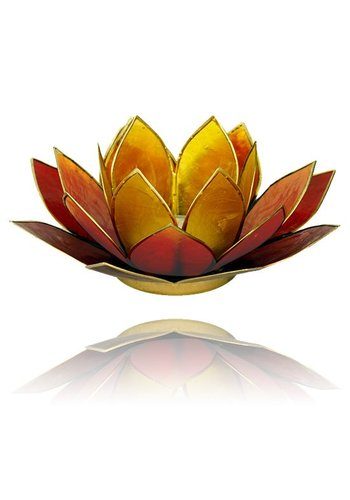 Yogi & Yogini naturals Lotus sfeerlicht 3-kleurig goudrand (Ø 13.5 cm)