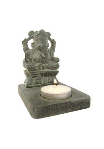 Yogi & Yogini naturals Ganesha waxinelichthouder grijs zeepsteen (11 cm)