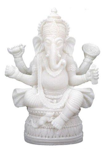 Yogi & Yogini naturals Ganesha beeld - de olifantsgodmet vier armen  (17 cm)