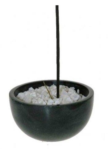 Yogi & Yogini naturals Wierookbakje zwart zeepsteen met witte steentjes (7,5 cm)