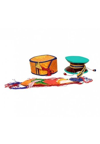 Yogi & Yogini naturals Mystieke rituele drum (Damaru) met gele tas
