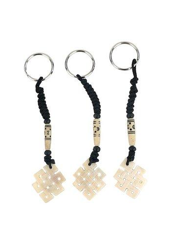 Yogi & Yogini naturals Sleutelhanger Endless knot wit (12 cm)