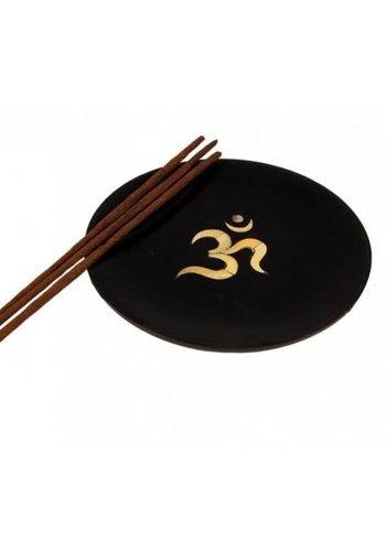 Yogi & Yogini naturals Wierookbrander wit OHM in zwart zeepsteen schotel