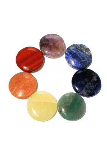 Yogi & Yogini naturals Edelstenen: SET 7 chakra stenen rond (3,5 cm)