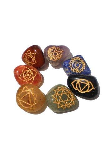 Yogi & Yogini naturals SET 7 chakra trommelstenen + chakra symbolen
