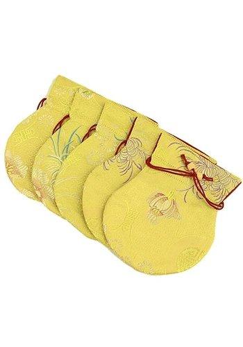 Yogi & Yogini naturals Brokaattasje geel gevoerd met rood