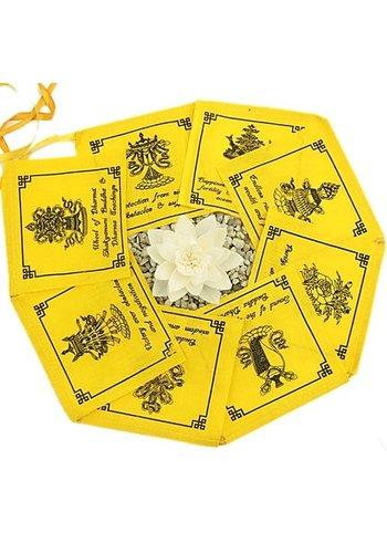 Yogi & Yogini naturals Gebedsvlaggen geel 8 voorspoed brengende tekens