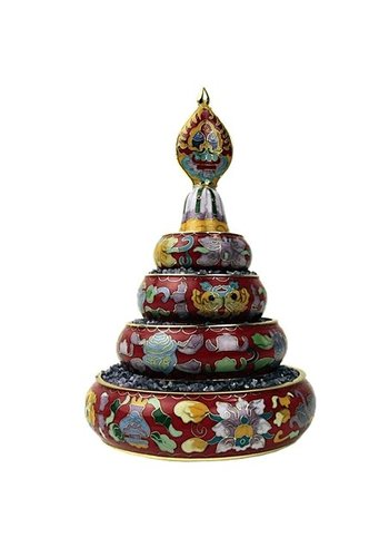 Yogi & Yogini naturals Mandala offering set cloissonee - rood (12,5 cm)