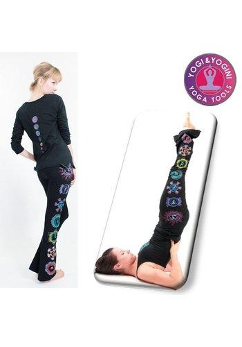 Yogi & Yogini naturals Yoga handgeschilderde chakra broek katoen zwart S