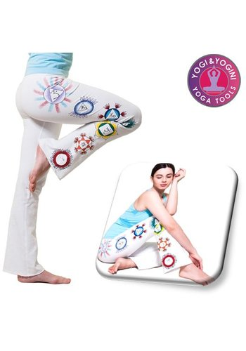 Yogi & Yogini naturals Yoga handgeschilderde chakra broek katoen wit M