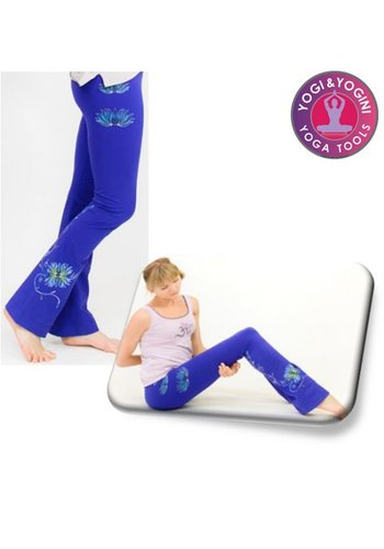 Yogi & Yogini naturals Yoga handgeschilderde lotus broek katoen blauw/paars (L)