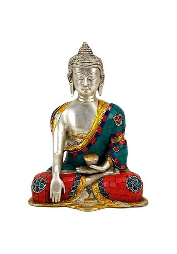 Yogi & Yogini naturals Boeddha Shakyamuni met mozaïek decoratie (20 cm)