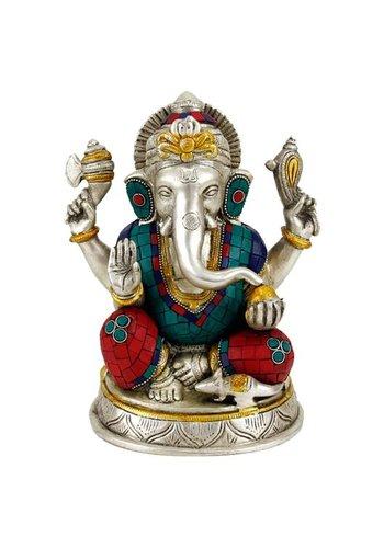 Yogi & Yogini naturals Ganesha beeld met mozaïek decoratie (25 cm)