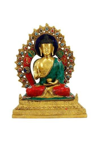 Yogi & Yogini naturals Boeddha Shakyamuni op troon met mozaïek decoratie (30 cm)
