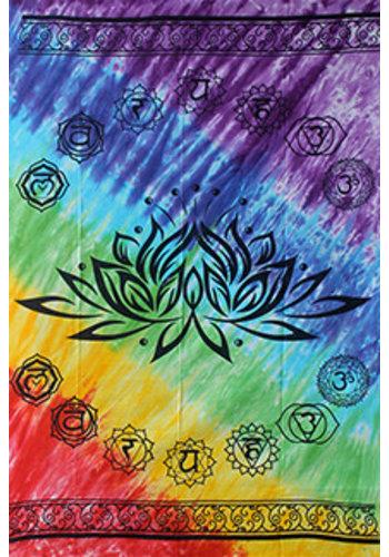 Yogi & Yogini naturals Wandkleed lotus met zeven chakrakleuren