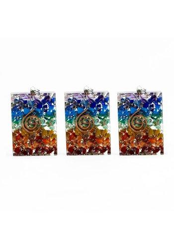 Yogi & Yogini naturals Orgon hanger vierkant meerdere kleuren (4x3 cm)