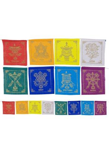 Yogi & Yogini naturals 8 voorspoedsymbolen vlaggen aan koord