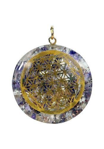 Yogi & Yogini naturals Orgon hanger Flower of life amethist en bergkristal (4 cm)