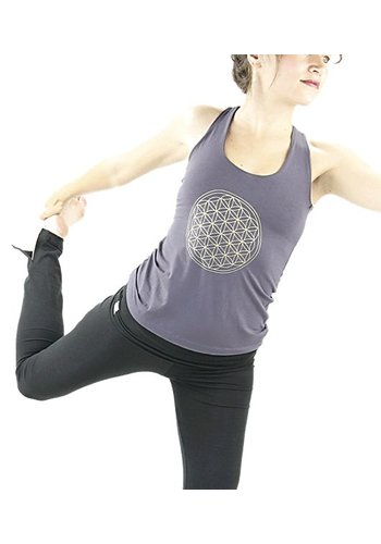 Yogi & Yogini naturals Yoga top 'Flower of life' donker grijs S