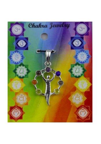Yogi & Yogini naturals Godinnenfiguur chakra hanger messing verzilverd