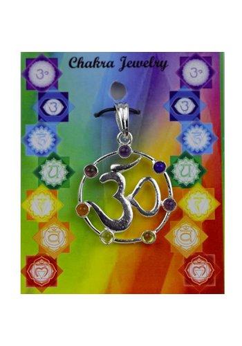 Yogi & Yogini naturals OHM hanger met 7 chakra stenen messing verzilverd